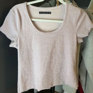 abercrombie and fitch light pink sparkly t shirt